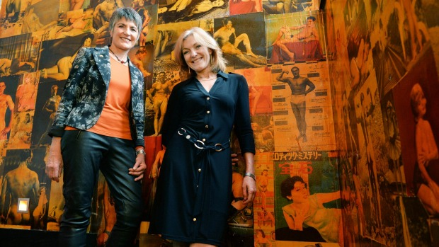Would-be senator Dr Meredith Doig and the leader of the Australian Sex party Fiona Patten amid the interesting decor of ...