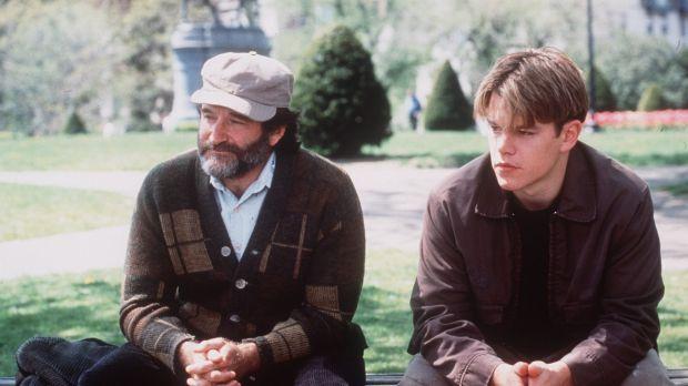 Role model: Robin Williams (left) and Matt Damon in the film <i>Good Will Hunting</I>.