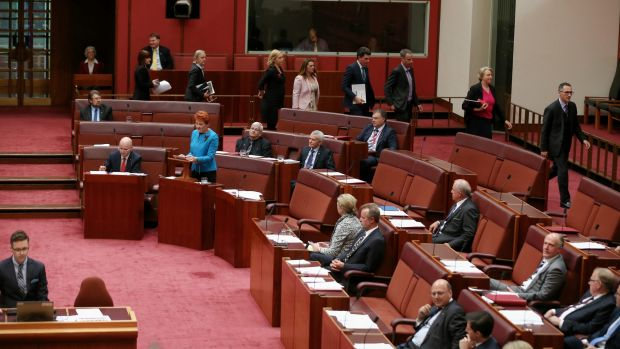 The Greens walk out as Senator Hanson delivers her first speech in the Senate.