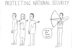 Potecting National Security Archer shooting people in back.